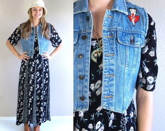 vtg 90s BETTY BOOP cropped Denim VEST jean xs/s jacket floral print grunge revival
