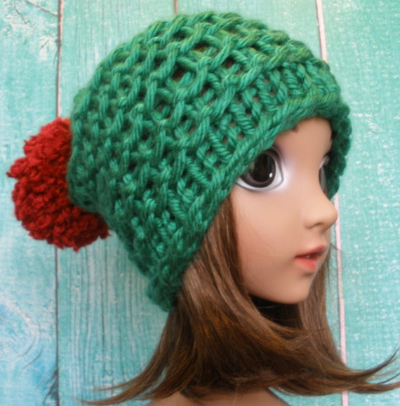 Slouchy Beanie Hat Winter Kids Hand Knit Christmas Jester Red And Green With Pom Pom