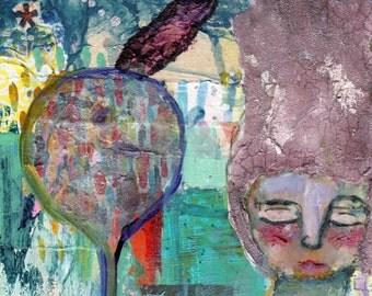 Anastasia - Original Nixie mixed media painting