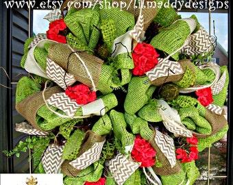 Fresh Green Wreath with Chevron Burlap