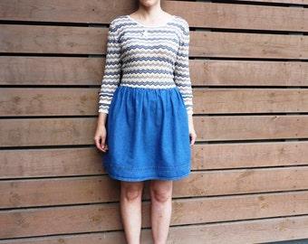 Chevron dress, jeans skirt dress, blue dress, full skirt dress, long sleeved dress