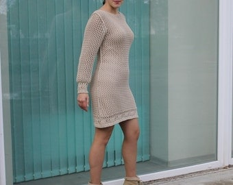 Beige dress, knitted lace dress, see through dress, long sleeved dress, textured jersey dress, boat neck dress, mini dress