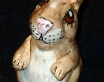 Sweet Standing  Lucky Rabbit Handmade in U.S. ceramic folk art Rabbit Sculpture