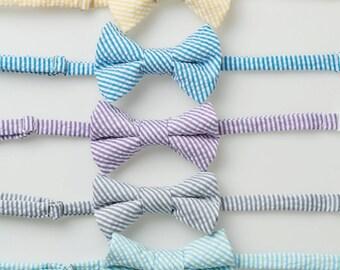 Boys Bow Tie - Striped Seersucker II - Fuschia, Yellow, Teal, Purple, Gray, Mint/Aqua, Red/Navy