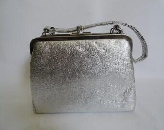 Vintage Purse  Vintage 1950s Silver Handbag/Evening Purse/Silver Handbag Winter Wedding Purse  Silver Wedding