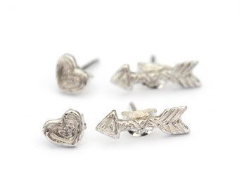 Heart and Arrow Earring Set - Recycled Sterling Silver