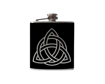 Celtic Knot flask- alcohol, liquor, booze, wedding, bridal party, hip pocket- Personalized Custom - YOU pick COLOR