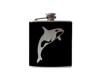 Orca Killer Whale Flask- whiskey, liquor, wedding, bridal party,- Personalized Custom - YOU pick COLOR