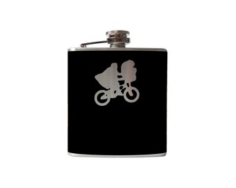 ET Flask- alcohol, whiskey alien extraterrestrial- Personalized Custom - YOU pick COLOR