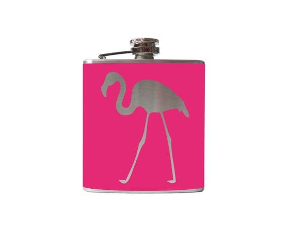 Flamingo Flask- lawn ornament alcohol, liquor, booze, wedding, bridal party, hip pocket- Personalized Custom - YOU pick COLOR
