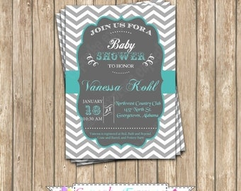 DIY  Grey teal chevron Baby Shower  PRINTABLE grey teal Invitation 5x7 chalkboard  - 1020