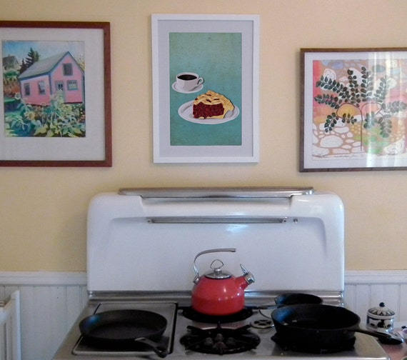 Coffee and pie print, Kitchen decor poster, quilling art print, Paper art print, Cherry pie illustration, hand drawn, Diner art