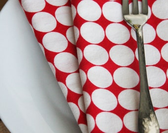 Small Sized Napkins - Red with White Dots - Set of 2 Reversible