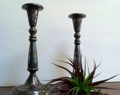 RESERVED FOR JOANN Pair of Heavyweight Antique Silver Candlestick/Taper Holders