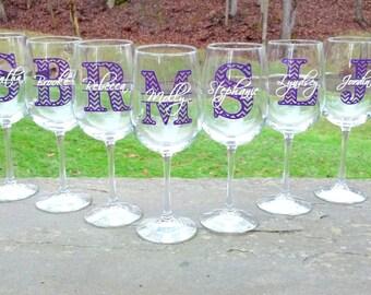 Chevron monogram bridesmaid glass, Wine glass with monogram and name.  Christmas gift idea, Bridesmaid gift idea, Maid of Honor