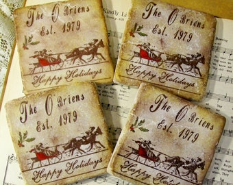 Christmas Coasters, Personalized Christmas Wedding Coasters, Antiqued Stone Coasters Personalized Anniversary Gift, Dashing Through the Snow