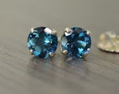 Blue Topaz Stud Earrings, 4.5ct tw large round London Lagoon Swiss Topaz