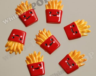 5 - French Fries Fast Food Flatback Cabochons, Fries Cabochons, 17mm x 12mm (R8-110)