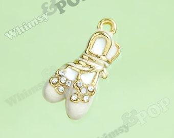 1 - 3D Crystal Rhinestone Cream White Enamel Ballerina Ballet Slipper Goldtone Kawaii Charm (3-6E)