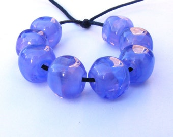 Lampwork beads set of 8 pearly purple curvy cube shaped lampwork glass beads - UK seller