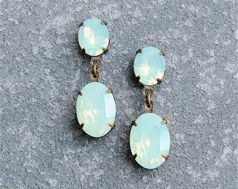 Mint Green Opal Earrings Swarovski Crystal Small Rhinestone Dangle Post Earrings Petite Fiesta Mashugana
