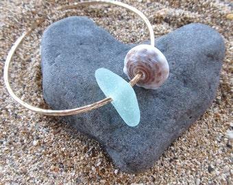 Gold Bangle, Aqua Sea Glass, Hawaiian Puka or Cone Shell, Hammered Thick 12 Gauge, Surfer Girl, Hawaii Beach Jewelry, Handmade Maui, Mermaid