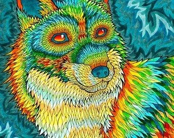 Foxadelic II  Print (Psychedelic Spiritual Trippy Fox Drawing in Copic Marker Orange Yellow Green Turquoise Rainbow)