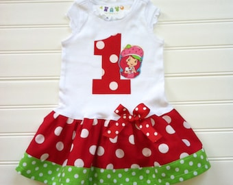 Girls Custom Boutique Strawberry Dress Birthday Dress Strawberry Dress Number Dress Girl Dress Dress Available 3-6 months through Size 6/8