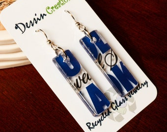 Recycled Glass Earrings made from an Absolut Vodka Bottle, Upcycled Jewelry, Unique Gift, Dessin Creations
