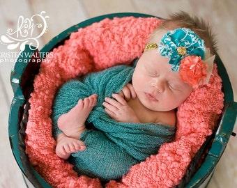 Teal, Coral & Gold headband- newborns, babies, girls, women, photo prop