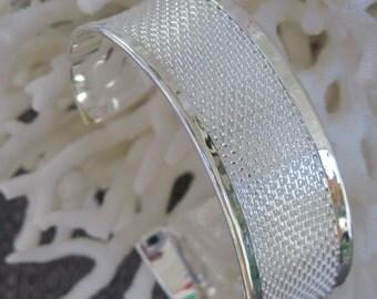Fine Weave Engraved Pattern Sterling Silver Cuff