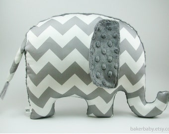 Chevron Elephant Nursery, Organic Cotton, Elephant Pillow, Modern Nursery Decor, charcoal gray chevron