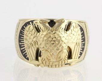 Vintage Scottish Rite Ring 32nd Degree - Solid 14k Yellow Gold Band Size 9.25 - 9.5 x5994