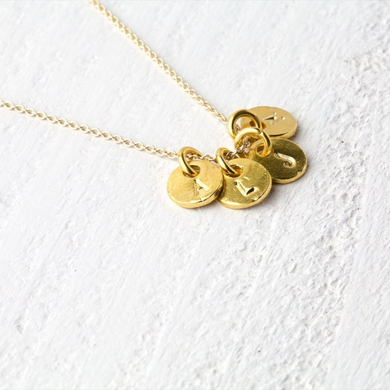 Gold Initial Necklace / Four (4) Letters / Monogram Personalized Necklace / Hand Stamped Mommy Jewelry