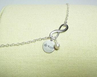 DREAM Infinity Charm Bracelet, Mom Sister Jewelry Grandmother Bridesmaid Jewelry Gift, Silver Jewelry, Wedding, Pretty