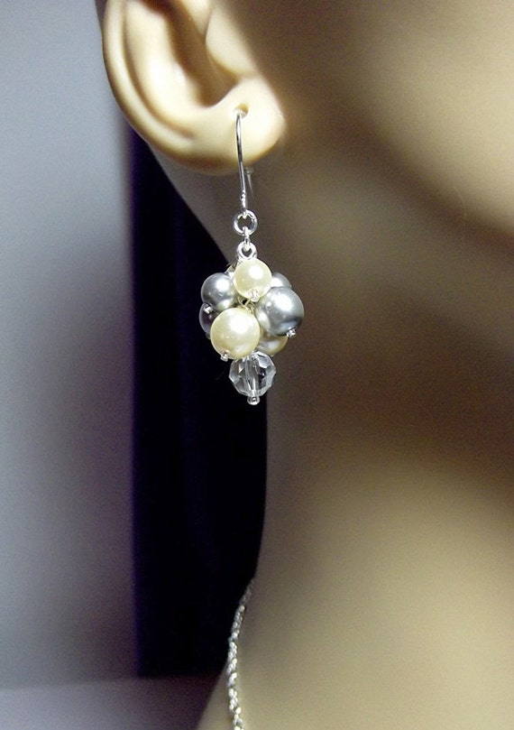 Wedding Jewelry Silver Gray And Ivory Pearl And Crystal