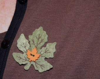 Festive Green Felt Leaf Pin