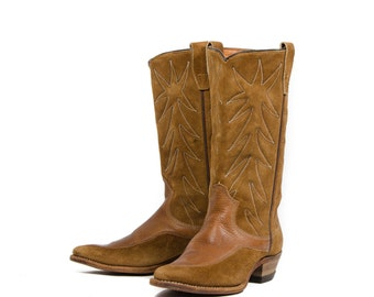 5.5 C   60'S 70'S Vintage Miss Texas Brown Cowboy Boots Leather & Suede Western Boots by Texas Brand Women