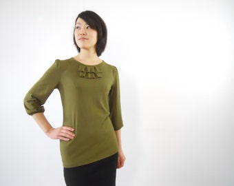 Blouse ON SALE! Was 68. Olive green 3/4 sleeve extra long tunic half sleeve bishop ecofriendly bamboo jersey fabric Tshirt Stretch casual