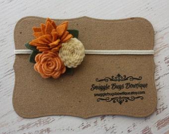Mixed Felt Flower Bouquet in Pumpkin Spice - Fall Flower Headband - Photo Prop - SBB Original