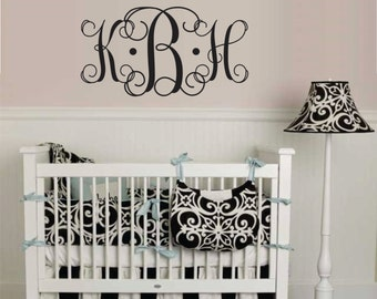 Baby Vinyl Decal, Childrens Decal  Decor, or Teen Wall Decal Monogram Vinyl Wall Lettering Art Decal