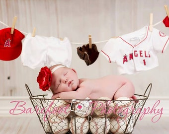 Baby Headbands..Baby Girl..Baby Headband..Baby Flower Headband..LA Angels Red and White Color Headband..Los Angeles Angels..MLB Headband