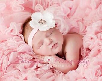 Baby Headband..Toddler Headband..Newborn Headband..Pink and White Headband..Girls Headband..Flower Headband..Pink Feathers..Pink Rhinestones