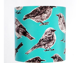 Flight Lampshade - Aqua - handmade silk shade with birds