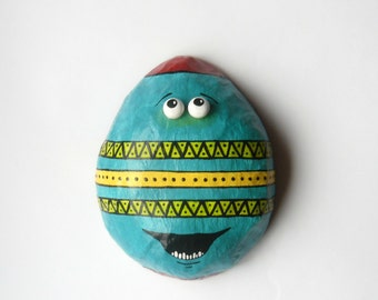 Easter Egg Decor - Frederick The Easter Egg - Mixed Media Sculpture - Paper Mache Wall Decor - Paper Egg - OOAK