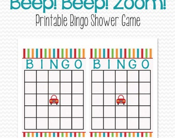 Transportation Baby Shower Game, Car Theme Bingo Card, Beep Beep Zoom, Gift Bingo Party Game -- Printable, Instant Download