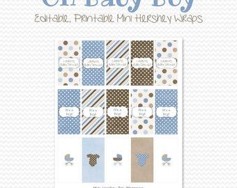 Mini Candy Bar Wrapper, Blue and Brown Baby Shower Favor, Candy Bar Label, Party Favor, Baby Boy Theme - Editable, Printable, Instant