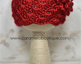 Vintage Red Baby Girl Hat with Pearls-Crochet Baby Girl Beanie Hat with Pearls-Photography Prop-Newborn Hat-Infant Hat-Baby Girl Photo Props