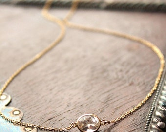 14k Solid Gold Crystal Quartz Cable Chain Necklace - Small Gemstone Necklace  - Bridesmaids Jewelry -