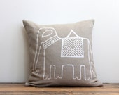 Elephant pillow cover hand printed in metallic pearl on taupe hemp 20x20